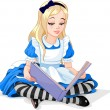 Alice reading a book — Stock Vector