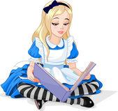 Alice reading a book — Stock Vector