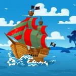 Pirate ship at sea — Stock Vector