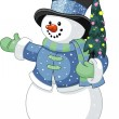 Snowman with Christmas tree — Stock Vector #4345515