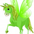 Green cute winged horse of fairy tale — Stock Vector