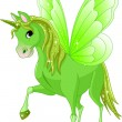Green cute winged horse of fairy tale — Stock Vector #46806219