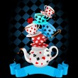 Wonderland Mad Tea Party Pyramid design — Stock Vector #46806241