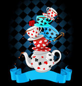 Wonderland Mad Tea Party Pyramid design — Stock Vector