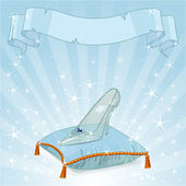 Crystal Cinderella's slipper on blue pillow — Stock Vector