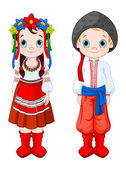 Boy and Girl in Ukrainian folk costumes. — Stok Vektör