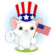 Kitten Holding American Flag — Stock Vector