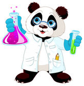 Panda in lab — Stock Vector