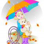 Little girl and Teddy Bear under umbrella. — Stock Vector #48685013
