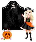 Pointing girl dressed as pirates — Stock Vector