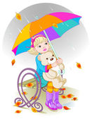 Little girl and Teddy Bear under umbrella. — Stock Vector