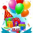 Birthday gifts and decorations — Vector de stock