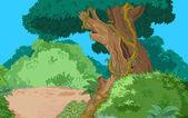 Grön tropisk skog — Stockvektor