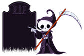 Grim reaper with scythe — Stock Vector
