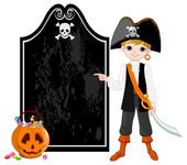 Kid dressed as pirate — Stock Vector