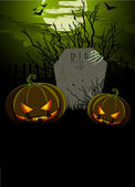 Tombstone and Pumpkins — Stockvector