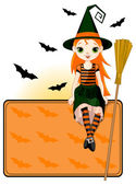 Cute witch sitting on place card — Stock Vector
