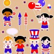 Fourth of july set of children — Stock Vector #49801041