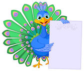 Peacock holding placard — Vector de stock