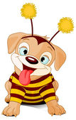 Puppy dressed-up like bee — Vector de stock
