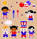 Fourth of july set of children — Vector de stock