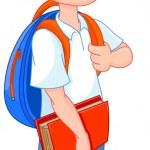 Schoolboy ready go to school — Stock Vector #50020577