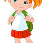 Schoolgirl ready go to school — Stock Vector #50020581