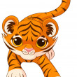 Illustration of crouching cute baby tiger — Stock Vector #50020593