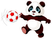 Panda cub playing soccer — Stock Vector