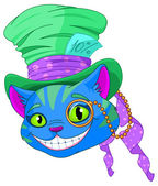 Cheshire cat in Top Hat and monocle — Stock Vector