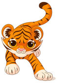 Illustration of crouching cute baby tiger — Stock Vector