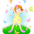 Little girl with butterflies on field — Stock Vector #50117193