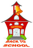 School building with a bell — Stock Vector