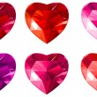 Jewelry red hearts collection. — Stock Vector