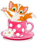 Domestic ginger kitten sits in tea cup. — Stock Vector