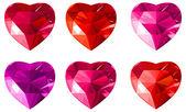 Bijoux coeurs rouges collection. — Vecteur