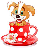 Domestic doggy sits in tea cup. — Stock Vector