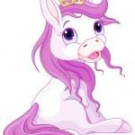Unicorn in crown — Stock Vector