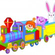 Toy train with fun characters — Stock Vector #50799283