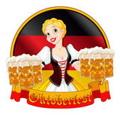 Girl serving beer on Oktoberfest — Stock Vector