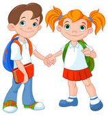 Boy and girl ready to school — Stock Vector
