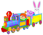 Toy train with fun characters — Stock Vector
