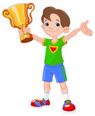 Athlete boy with winner cup — Stock Vector