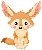 Cute Fox Fennec — Vector de stock