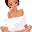 Young African woman sitting on cushion with laptop — Stock Vector #5317234