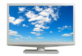 Monitor with the sky on the screen, isolated, contours saved. — Stock Photo