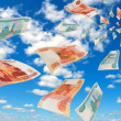 Stock Photo: Russimoney - rubles in sky flying.