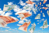 Russian money - rubles in the sky flying. — Stock Photo