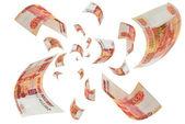 Ruské peníze - rublů ve vzduchu. — Stock fotografie