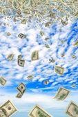 Money in the sky, vertical composition. — Stock Photo